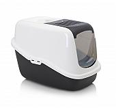 Savic Front Folding Cat Toilet Nestor -White/Black - (LxWxH - 22x15.3x15 inch)