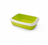 Savic Cat Litter Tray Oval & Rim Large - White/Lemon Green - (LxWxH - 18x15x5.5 inch)