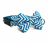 Mutt of Course Chevron Blue Dog Bow Tie - Medium