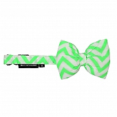Mutt of Course Chevron Green Dog Bow Tie- Medium