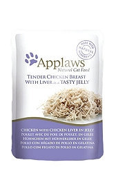 Applaws Cat Pouch Food Chicken Breast with Liver  in a Tasty Jelly -70 gm (16 Pouches)