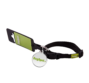 DogSpot Premium Adjustable Collar Black - Large With Wag Tag