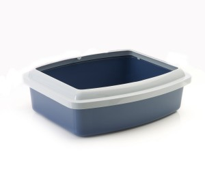 Savic Cat Litter Tray Oval & Rim Large - White/Cold Grey - (LxWxH - 18x15x5.5 inch)