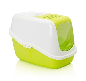Savic Front Folding Cat Toilet Nestor - White/Lemon Green - (LxWxH - 55.8x38.8x38 cm)