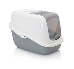 Savic Front Folding Cat Toilet Nestor - White/Cold Grey - (LxWxH - 22x15.3x15 inch)