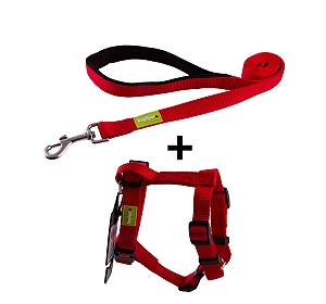 DogSpot Premium Leash and Harness Set Red 25 mm - Large