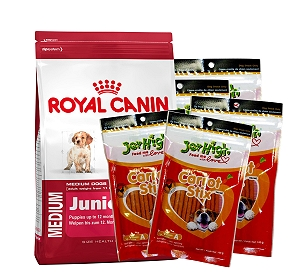 Royal Canin Medium Junior - 4 Kg With JerHigh Carrot Stick Dog Treats