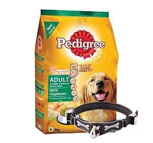 Pedigree Dog Food Adult 100% Vegetarian - 3 Kg With Ergocomfort Dog Collar Large-Black