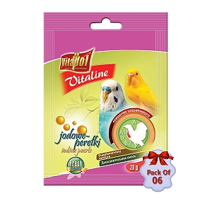 Vitapol Vitaline Iodine Pearls For Parrots Bird Supplement- 20 gm (Pack Of  6)
