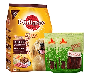 Pedigree Adult Dog Food Meat & Rice - 3 Kg  With Duck Slices