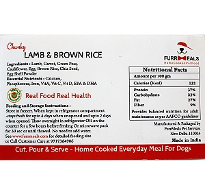 FurrMeals Chunky Lamb & Brown Rice Home cooked Adult Dog Food - 5 kg