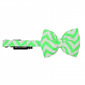 Mutt of Course Chevron Green Dog Bow Tie- Small