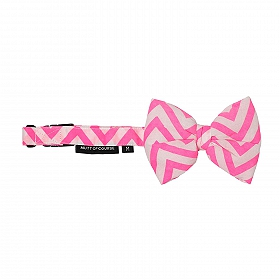 Mutt of Course Chevron Pink Dog Bow Tie- Large
