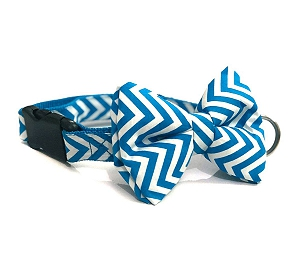 Mutt of Course Chevron Blue Dog Bow Tie - Small