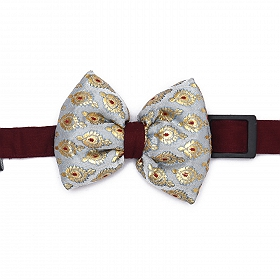 Mutt of Course Festive Collection Dog Bow Tie - Silver and Maroon - Large