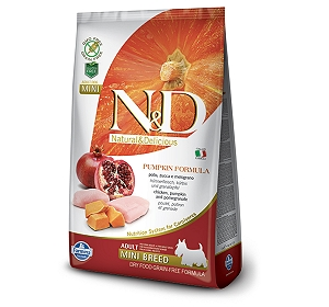 Farmina N&D Dry Dog Food Grain Free Pumpkin Chicken & Pomegranate Adult Mini Breed - 800 gm