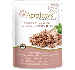 Applaws Cat Pouch Food Tuna With Salmon in a Tasty Jelly -70 gm (16 Pouches)
