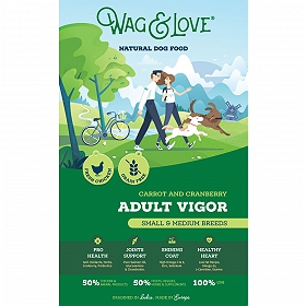 Wag & Love Grain Free Adult Vigor Small & Medium Breed Chicken, Carrot & Cranberry - 7 Kg
