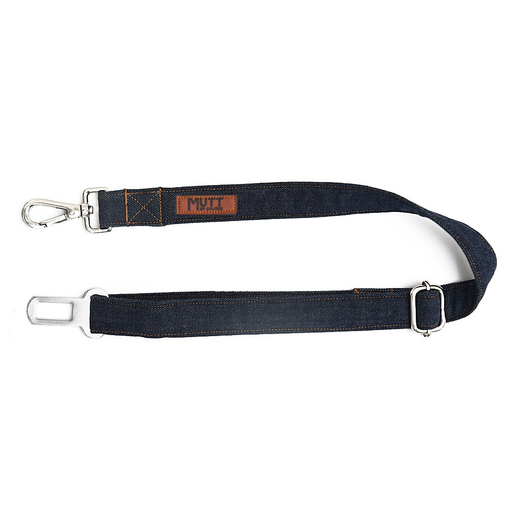 Mutt Of Cource Adjustable Car Seat Belt - Dark Denim