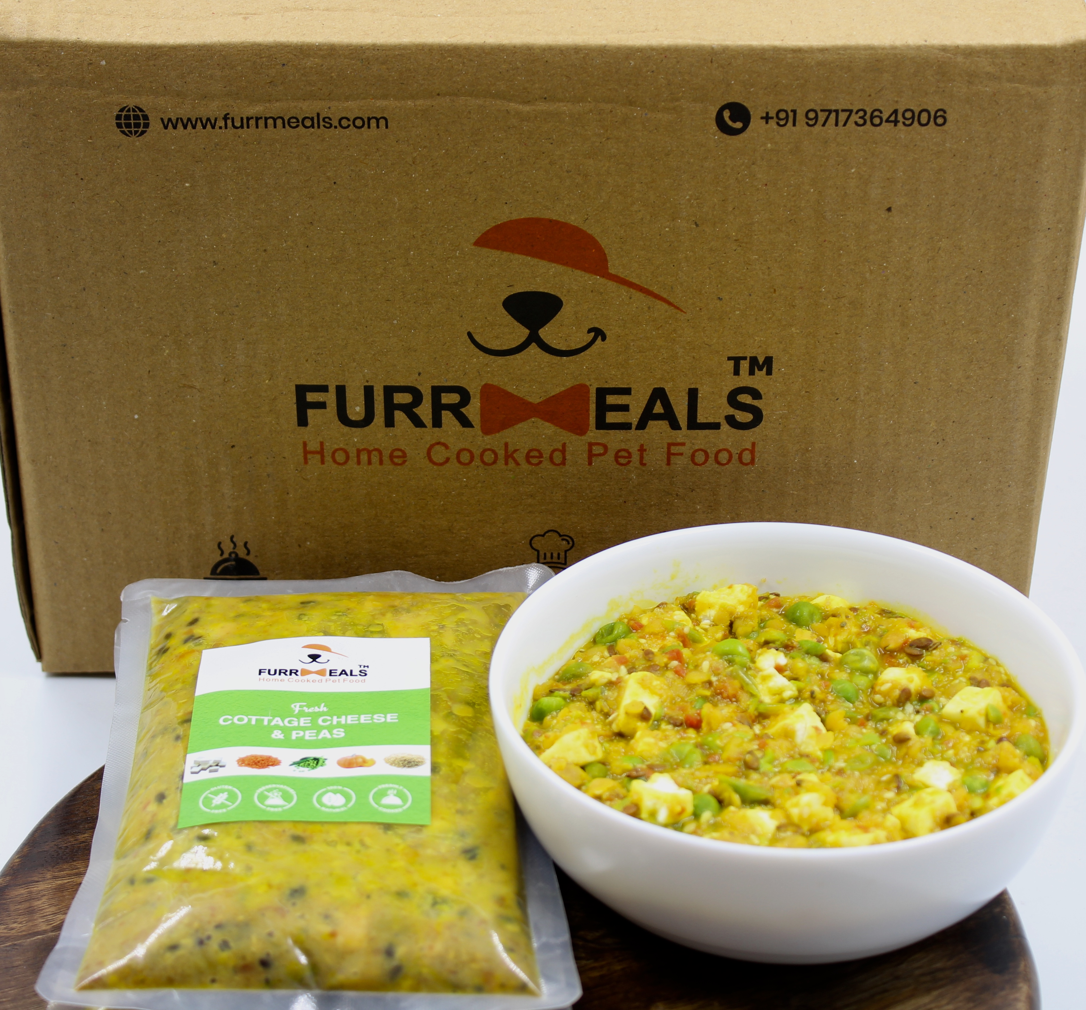 FurrMeals Small Furry Weekly Veg Plan (Fresh Cottage Cheese & Peas) - 200 gm (Pack of 14)