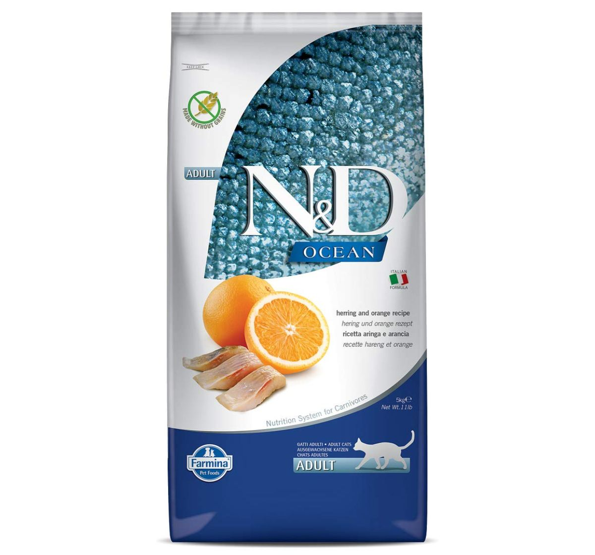 Farmina N&D Dry Cat Food Ocean Herring & Orange Adult - 5 kg