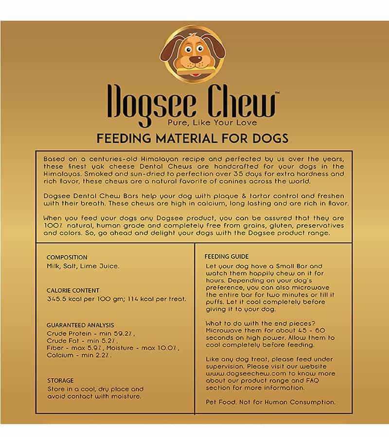 Dogsee Chew 100% natural Long Lasting Small Bars  Dog Treat -100 gm