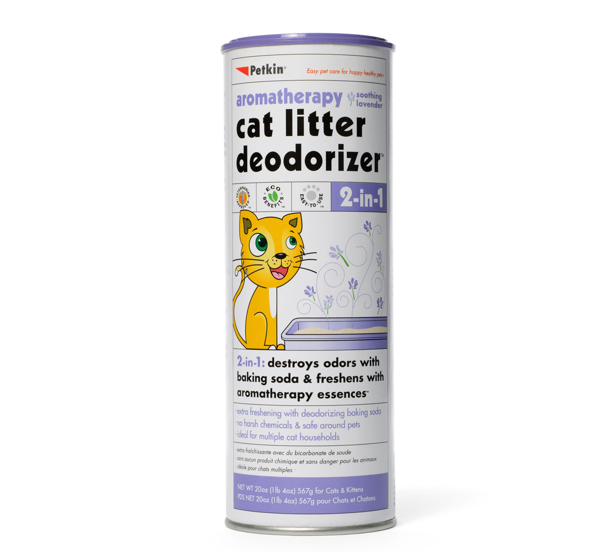 Petkin 2 in 1 Litter Deodorizer Lavender For Cat - 567 gm