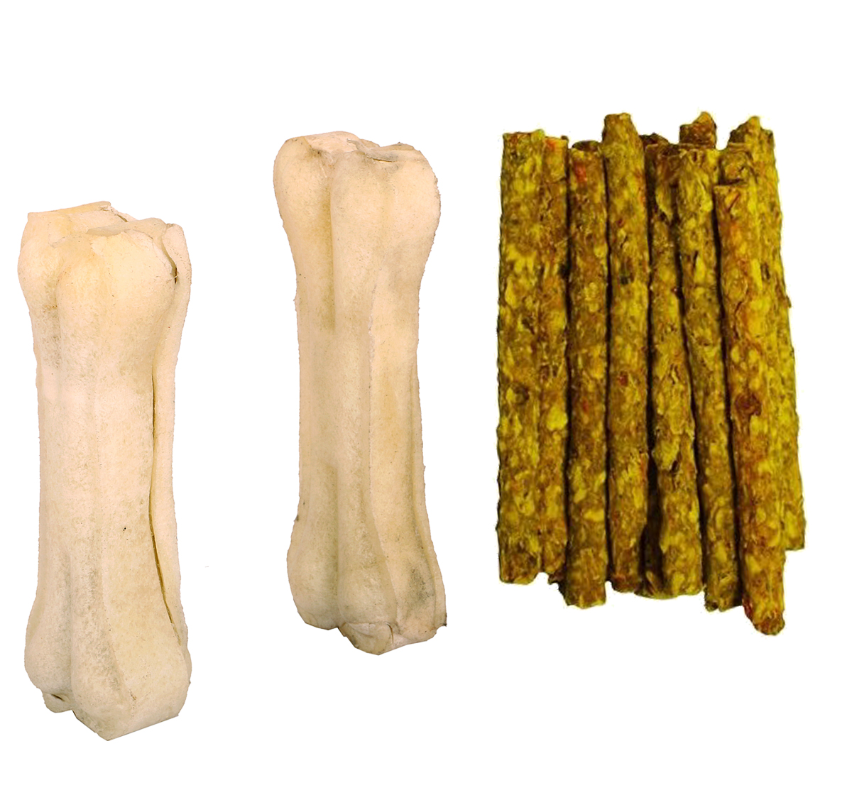 DogSpot Chicken Munchies - 450 Gm with Rawhide Bone 6 Inches - 2 pieces
