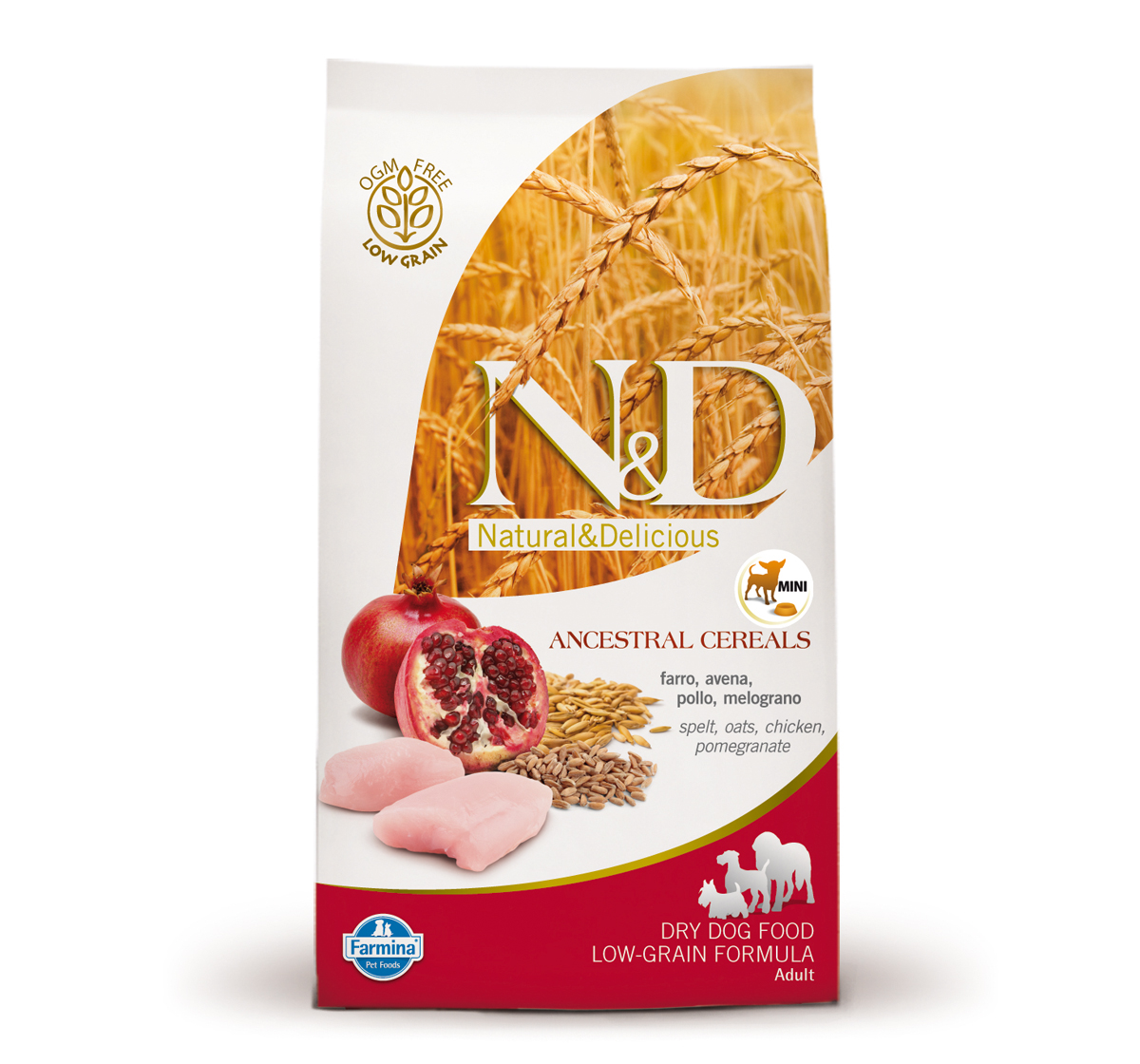 Farmina N&D Dry Dog Food Chicken & Pomegranate Adult Mini Breed - 2.5 kg