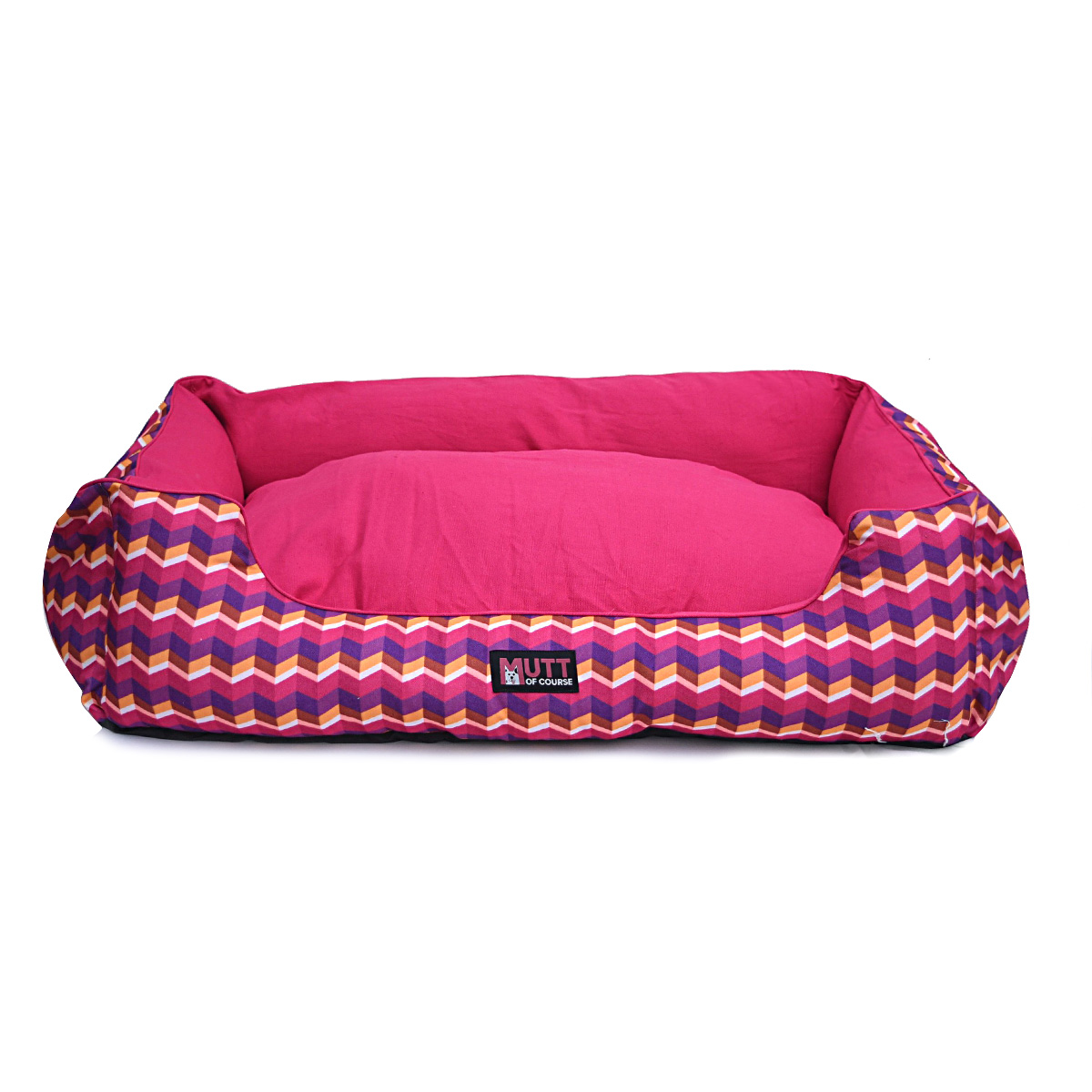 Mutt Of Course Geometrical Dark Lounger Bed - Large