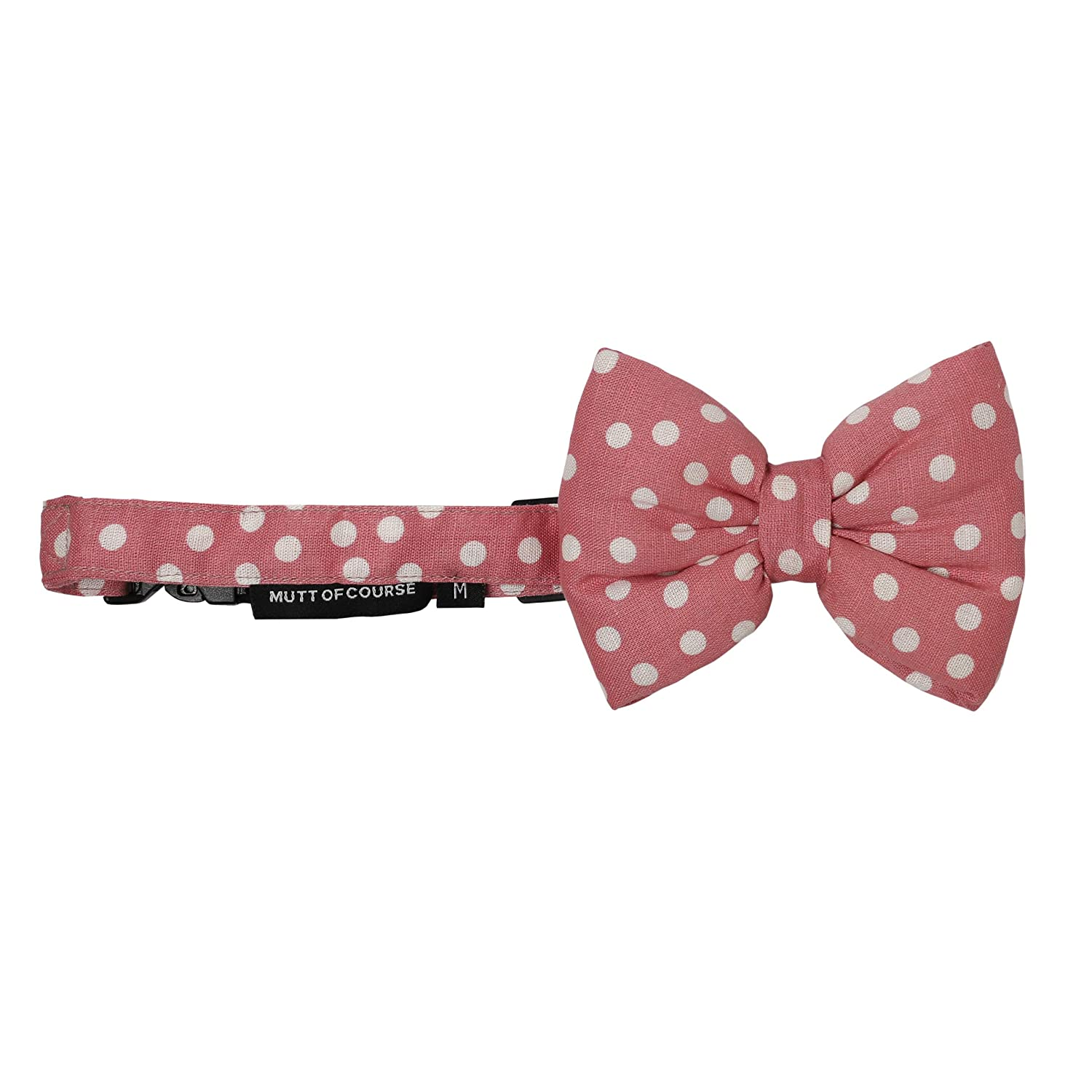 Mutt of Course Polka Pink Dog Bow Tie- Small