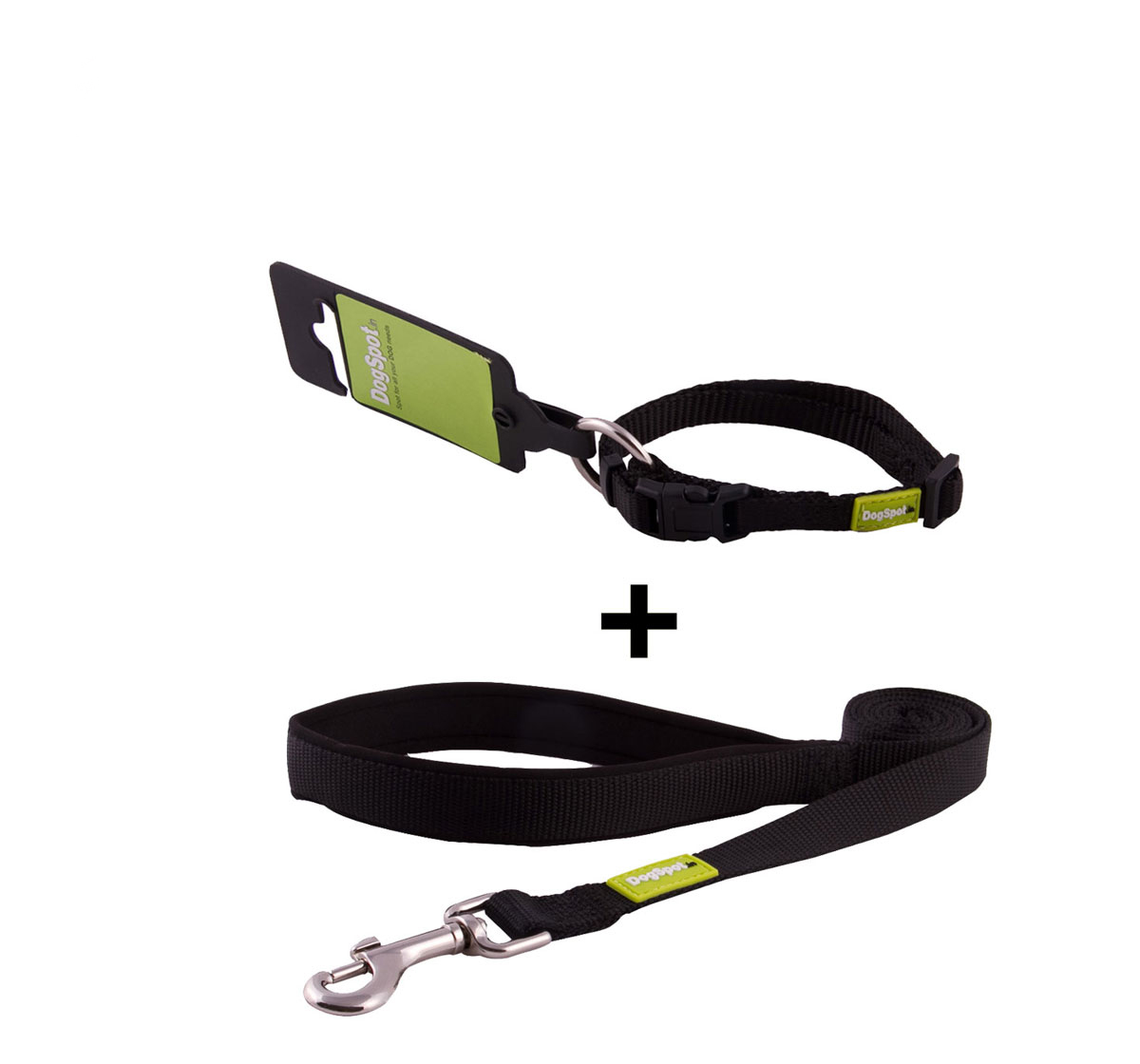 DogSpot Premium Leash and Collar Set Black 10 mm - Xsmall