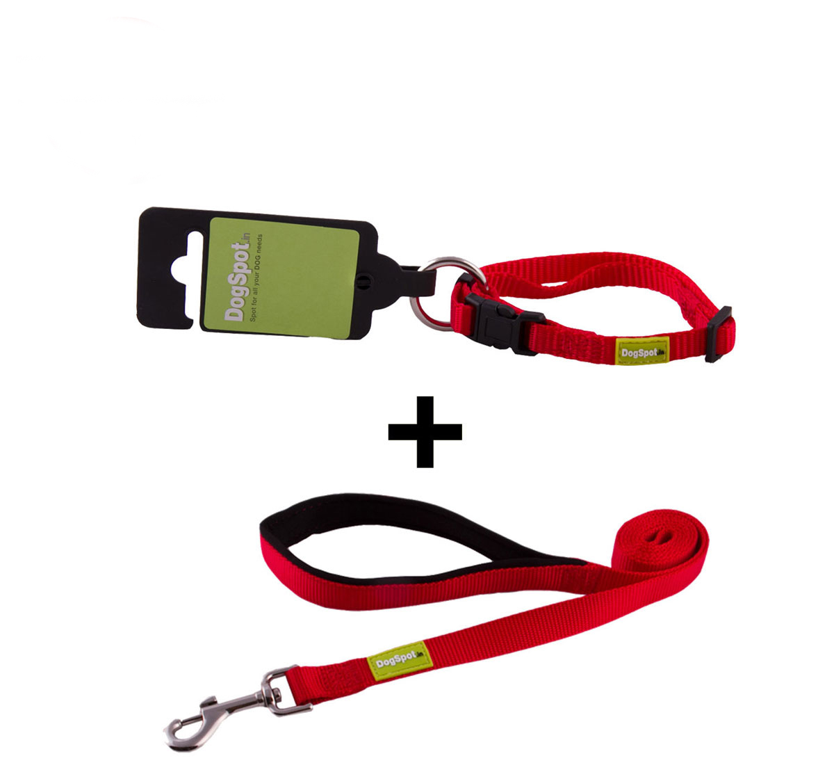 DogSpot Premium Leash and Collar Set Red 10 mm - Medium