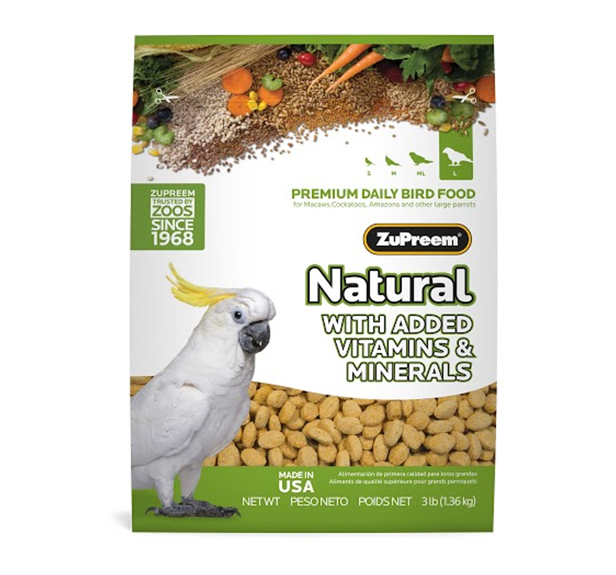 ZuPreem Natural For Large Parrot - 1.36 Kg