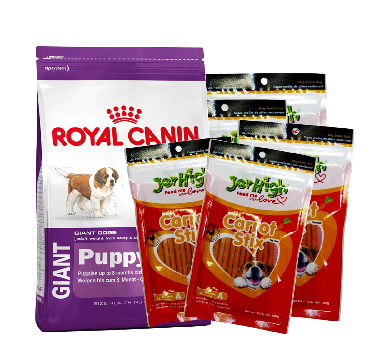 Royal Canin Giant Puppy - 4 Kg With JerHigh Carrot Stick Dog Treats