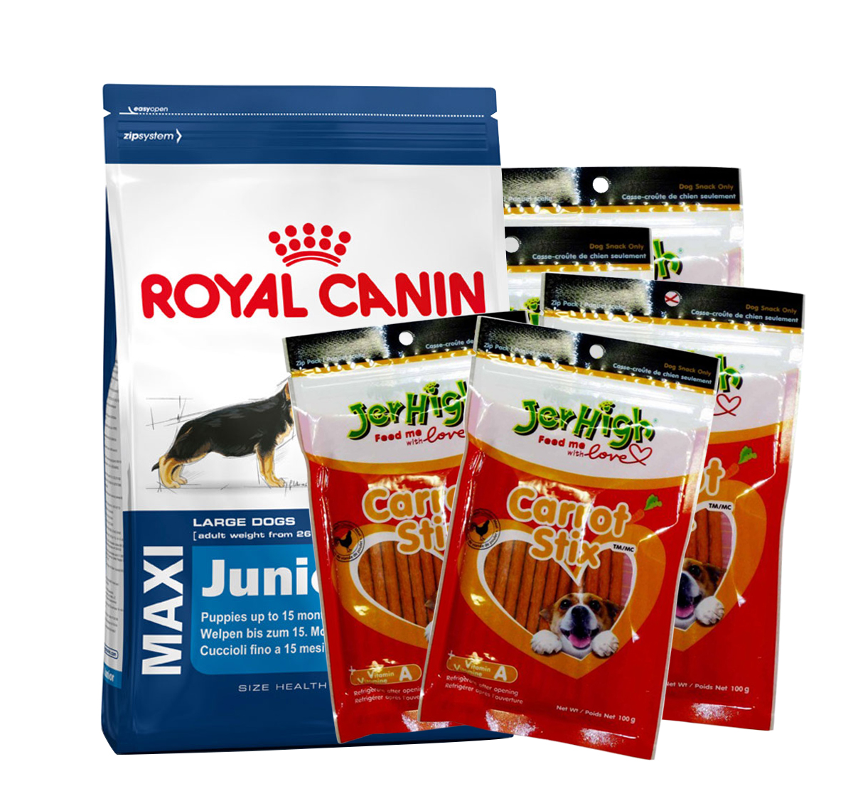 Royal Canin Maxi Junior - 4 Kg With JerHigh Carrot Stick Dog Treats