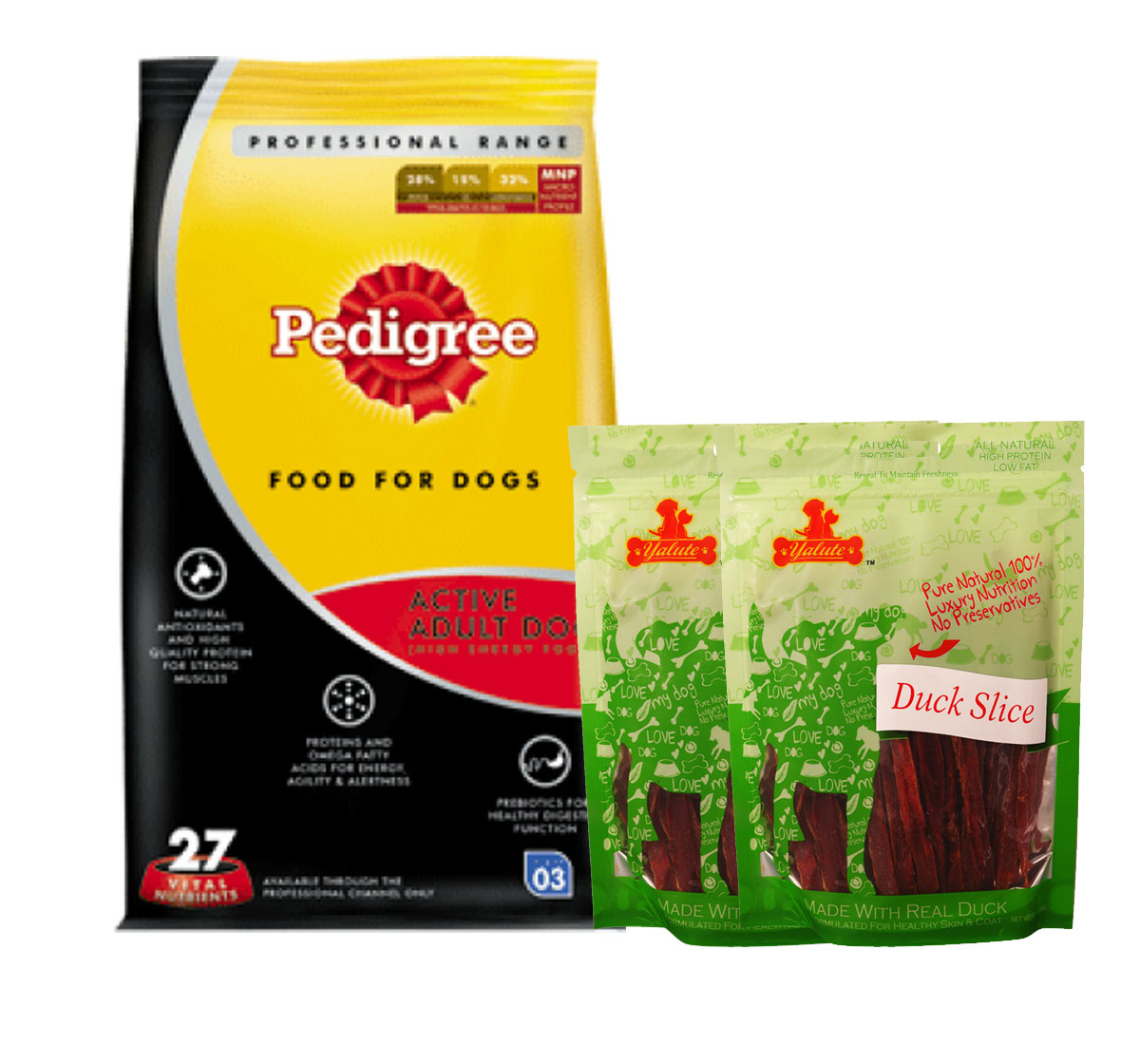 Pedigree Dog Food Active Adult Professional - 3 Kg  With Duck Slices