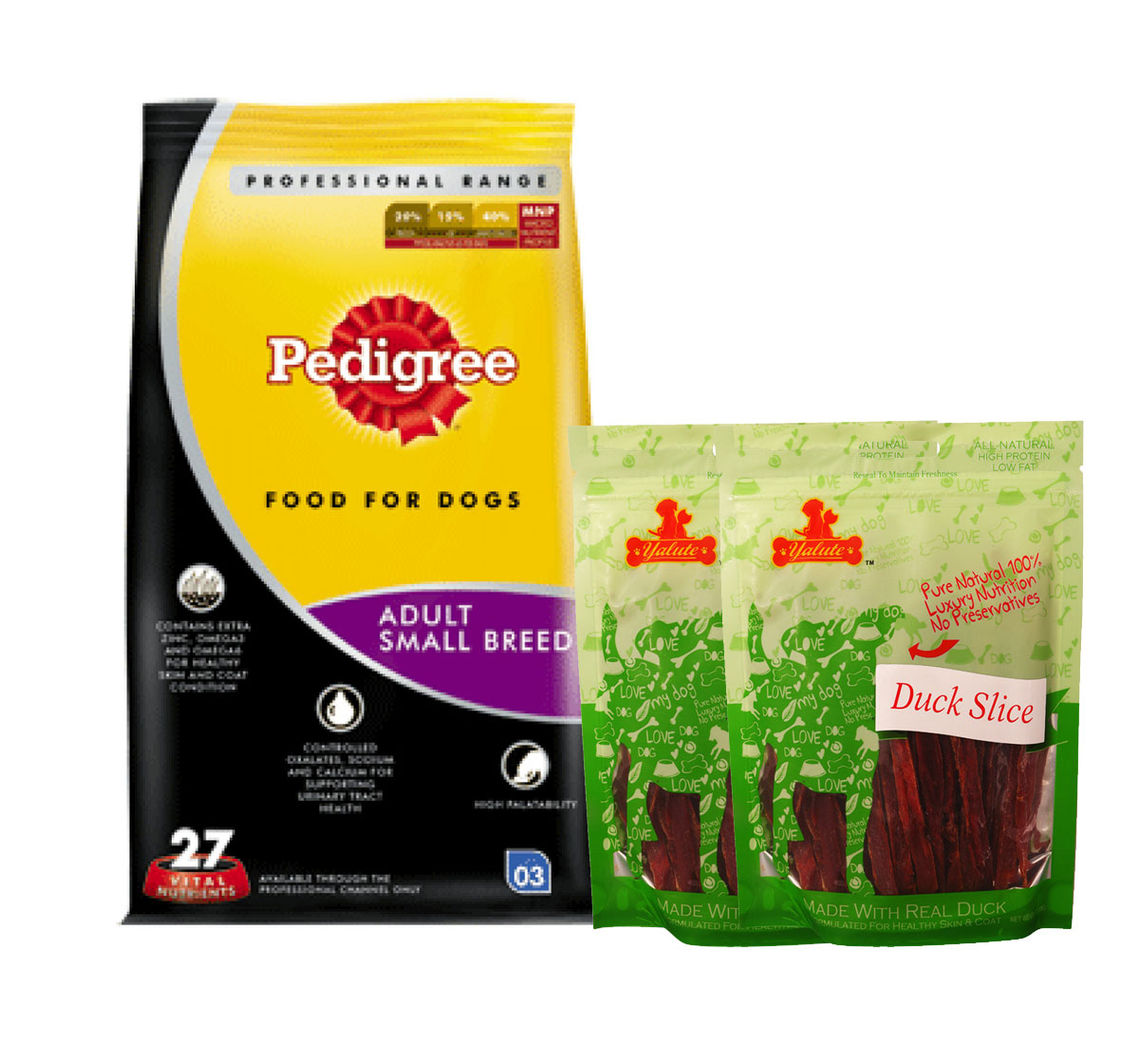 Pedigree Dog Food Adult Small Breed Professional - 3 Kg  With Duck Slices