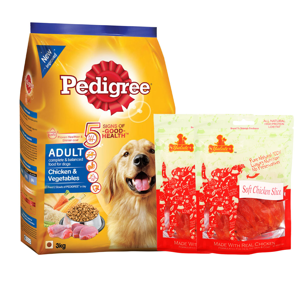 Pedigree Adult Dog Food Chicken & Vegetables - 3 Kg  With Chicken Slices