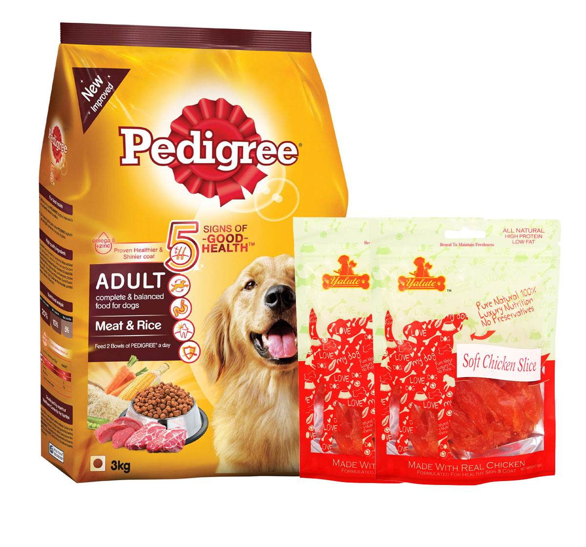 Pedigree Adult Dog Food Meat & Rice - 3 Kg  With Chicken Slices