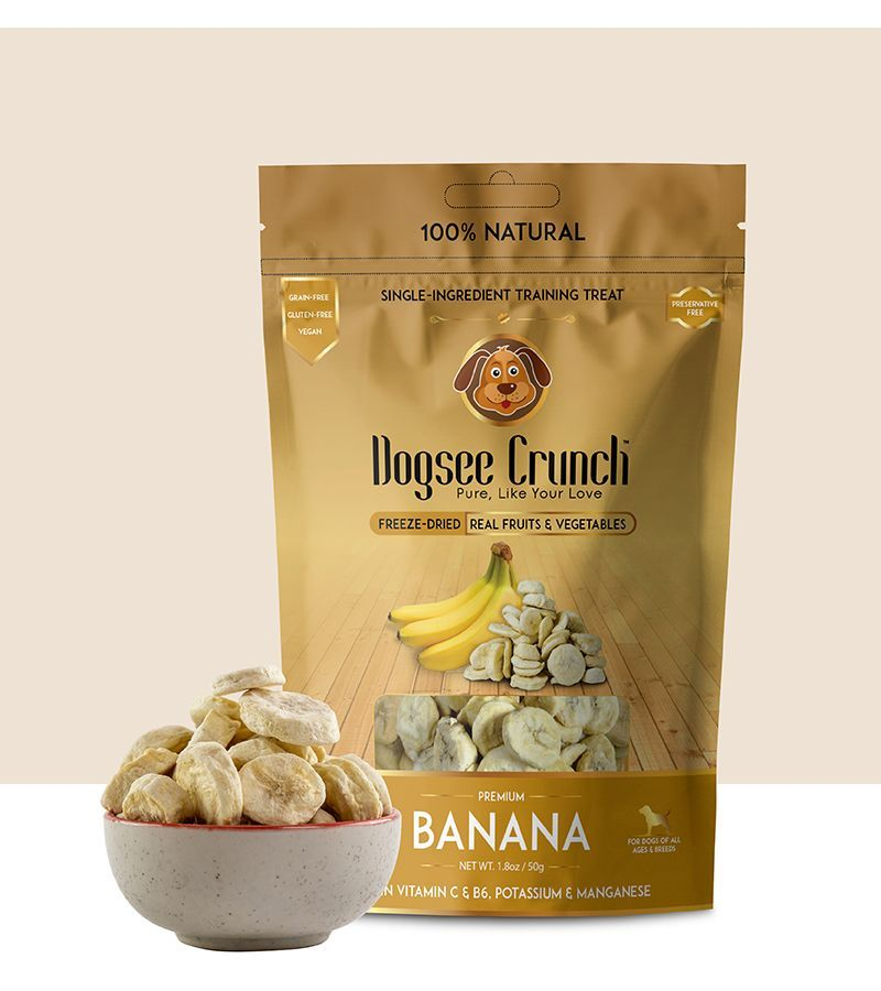 Dogsee Crunch Banana Flavoured Freeze Dried Treats Dog Treat -50 gm