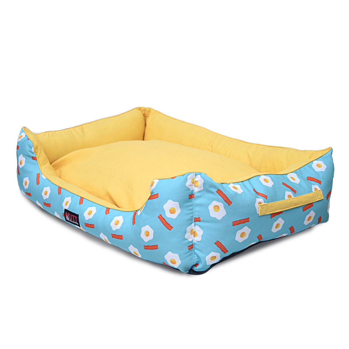 Mutt Of Course Lounger Bed For Dogs - Eggs N Bacon - Medium