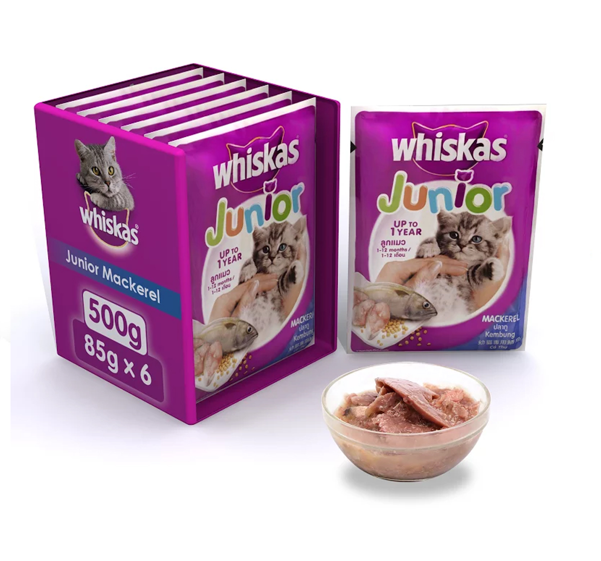Whiskas Kitten Cat Food Mackerel - 85 gram (Pack Of 6)
