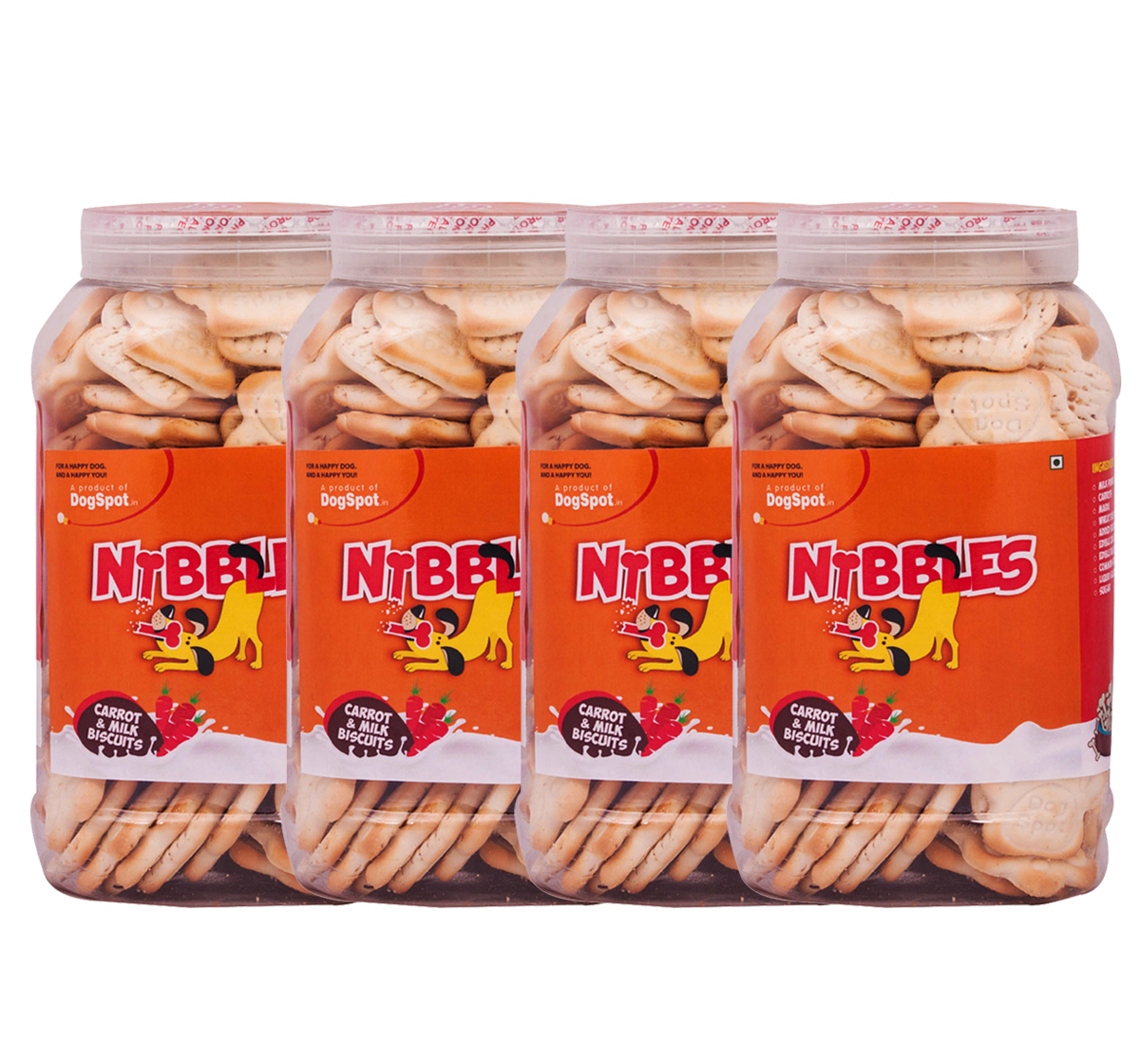 Nibbles Carrot & Milk Dog Biscuit - 1 kg (Pack Of 4)