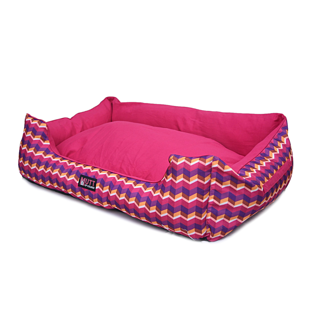 Mutt Of Course Geometrical Dark Lounger Bed - Xlarge