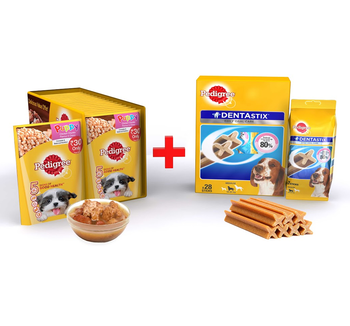 Pedigree Puppy Gravy Chicken & Rice 80gm ( 15 Pouch) + Dentastix Medium Breed 720gm ( 28 Sticks)