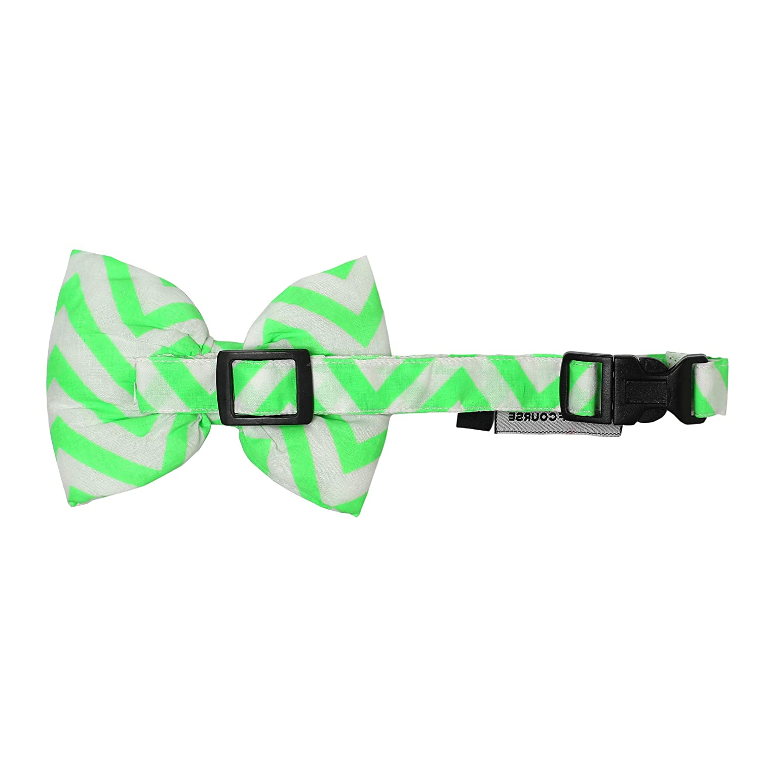 Mutt of Course Chevron Green Dog Bow Tie- Large