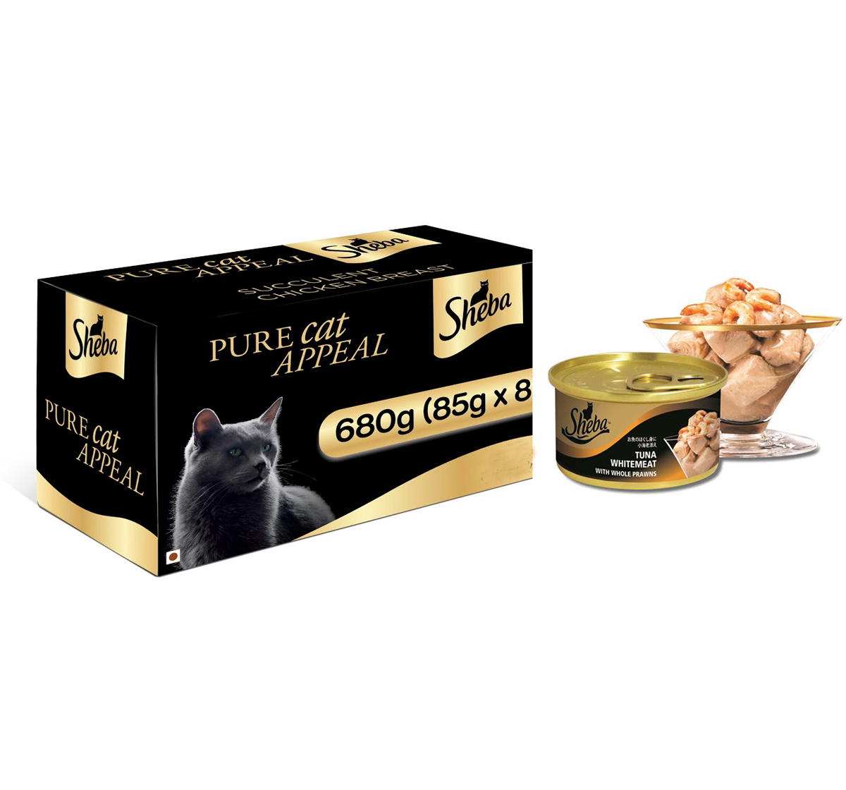 Sheba Deluxe Tuna Fillets & Whole Prawns In Gravy For Adult Cat - 85 gm (Pack Of 8)