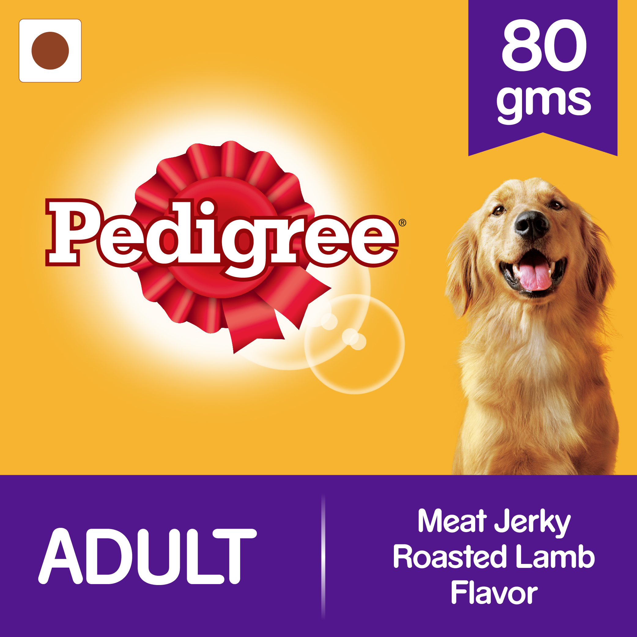 Pedigree Meat Jerky Roasted Lamb Flavor  - 80 gm (Pack of 12)
