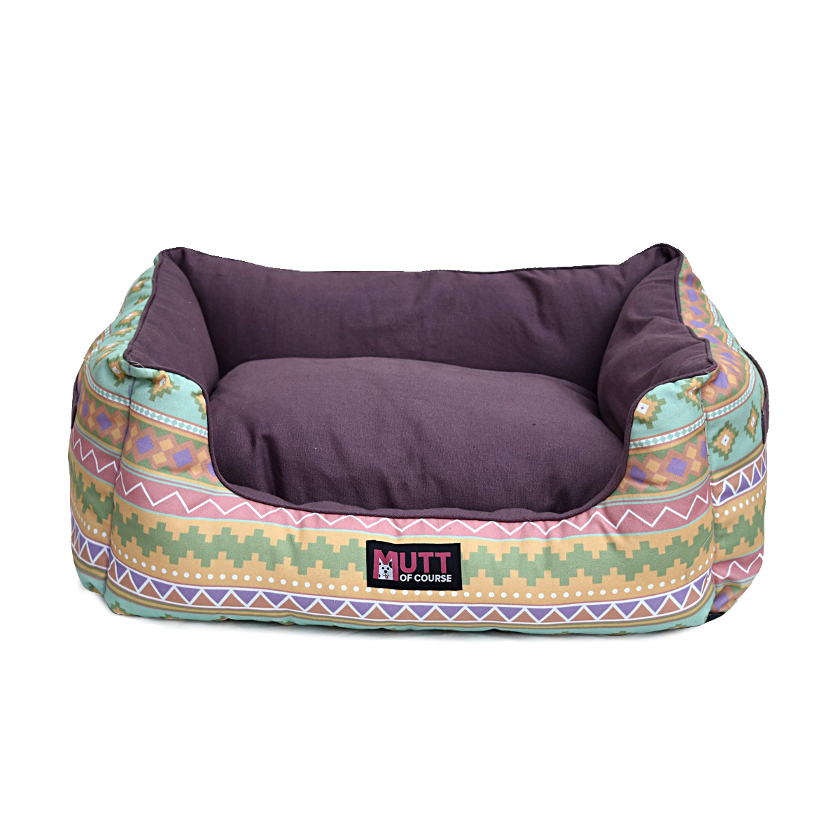 Mutt Of Course Lounger Bed For Dogs - Aztec Printe  - Large